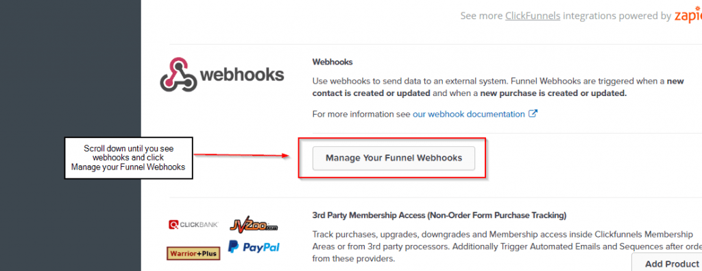 adding webhooks in clickfunnel 1