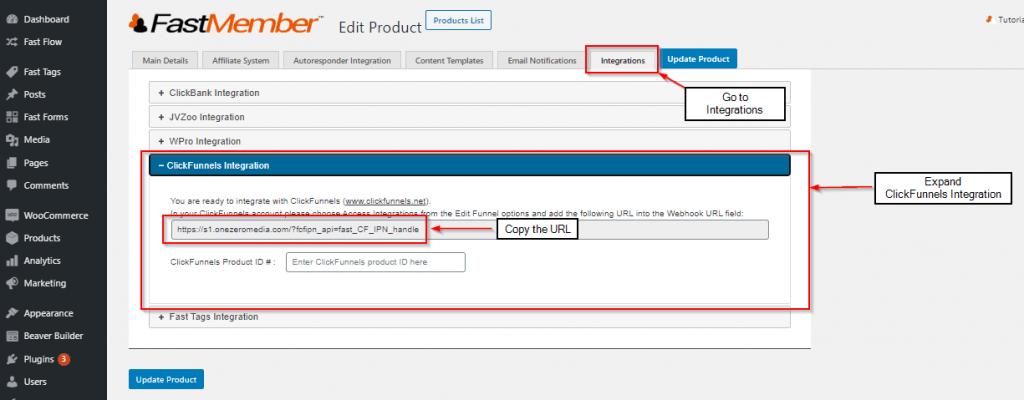 copying webhook url fastmember