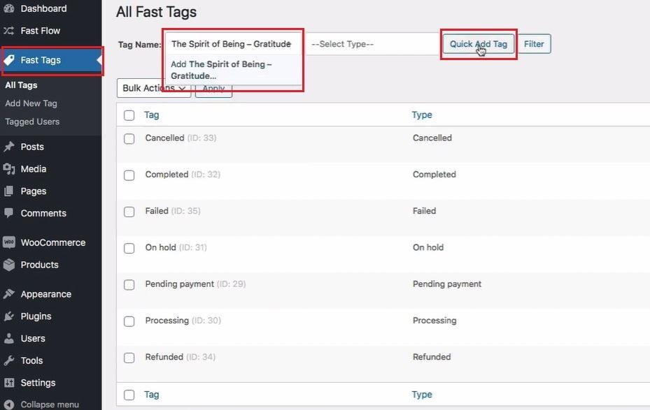 Fast tags add tag